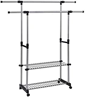 SUNPACE Clothing Garment Rack SUN014 Extendable Length Adjustable Height Hanging Rod Clothing Organizer with Meshes and Wheels