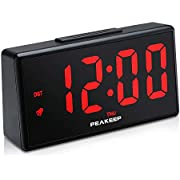 PEAKEEP Night Light Plug in Digital Alarm Clock with USB Charger Dimmer, Day, DST (Red LED)