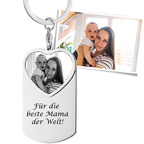 Schlüsselanhänger mit Bild Gravur und Wunschtext als Geschenk - inkl. Fotogravur Bildgravur - Edelstahl SA48bi - mit AMAZON KONFIGURATOR gestalten !