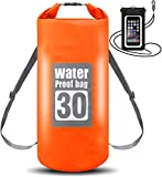 WIN.MAX Wasserdichte Wasserdichter Packsack mit Handybeutel, Orange, 5L