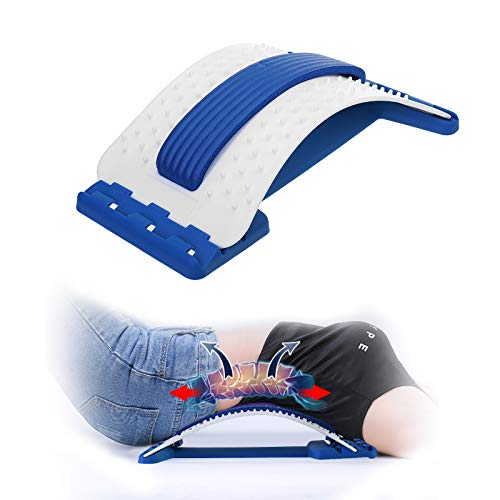 Back Stretcher,Lumbar Support Device Multi-Level Back Massager Spine Deck Back Stretching Treatment Spinal Lumbar Back Stretcher (White)