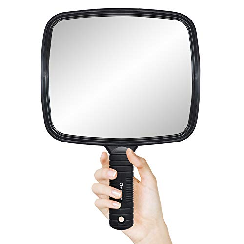 HYOUJIN Handheld Mirror Large Hand Mirror Hairdressers Professional Salon Mirror Tool with Handle
