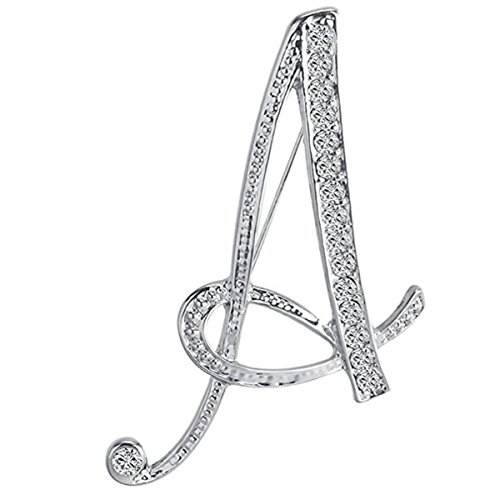 ANTOLL A Initial Letters Brooch For Women,Silver Plated Metal Rhinestone Clear AAA+ Crystal Lapel Pin Brooches(1Pcs)