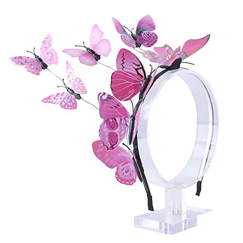 AWAYTR Girl Butterfly Fancy Fairy Headband Boho Chic Printed Art Costume Party Tiara Crown Prop Hair Band Hoop Headband (pink)