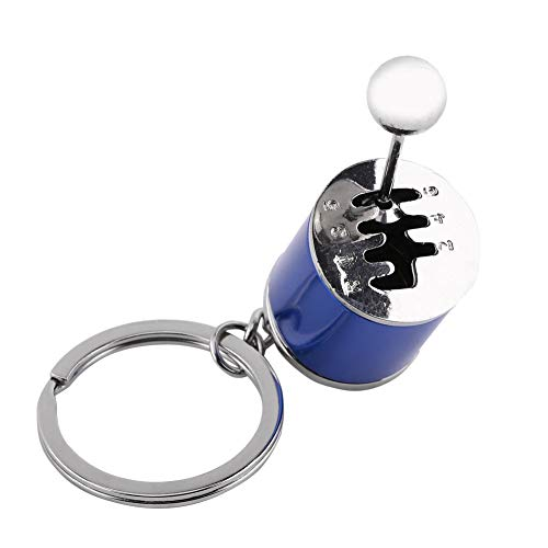 Llavero de llavero de coche, modelo de palanca de cambio de coche multicolor Llaveros de aleación de metal Llavero de modelo con forma de pieza de automóvil (4.05 x 1.61 x 0.8 pulgadas)(Azul)