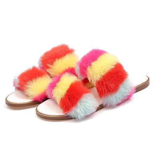 CYQ Zapatillas de Mujer con Pompones Peludos Zapatillas sin Cordones Deslizadores de Piel esponjosa Cómodas Suelas Impermeables Chanclas Sandalias (35-41), Color, 38