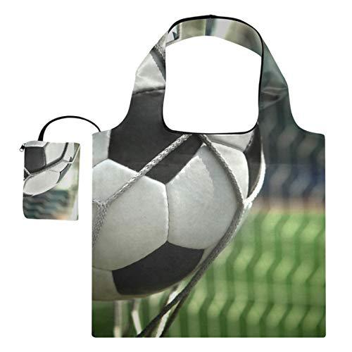 XiangHeFu Bolsas de compras reutilizables de los totalizadores del regalo del ultramarinos gran capacidad plegable, meta del fútbol del tiro del fútbol