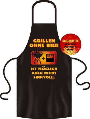 BBQ-schort + gratis button: grillen zonder bier is mogelijk maar niet zinvol top cadeau als klein cadeautje voor het barbecueën