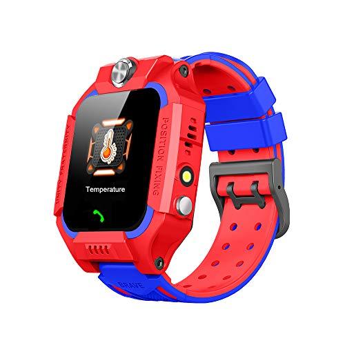 Multifunctioneel smartwatch voor kinderen, GPS-positionering om verlies te voorkomen, elektronische thermometer om de lichaamstemperatuur van het kind op elk moment te bewaken en spraakoproepen te ondersteunen (Rood)