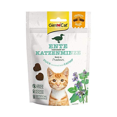 GimCat Crunchy Snacks Ente mit Katzenminze - Knuspriges und proteinreiches Katzenleckerli ohne Zuckerzusatz - 1 Beutel (1 x 50 g)