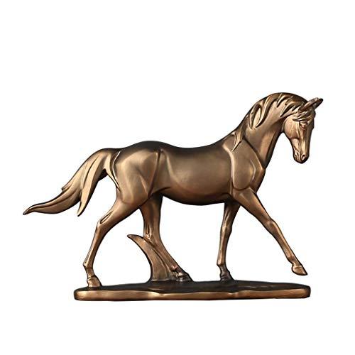 LIUSHI Escultura Decorativa de Estatua de Caballo, Resina de imitación de Cobre, Modelo de Animal Retro, Oficina y decoración de Escritorio para Sala de Estar, 31 × 5,5 × 22 CM