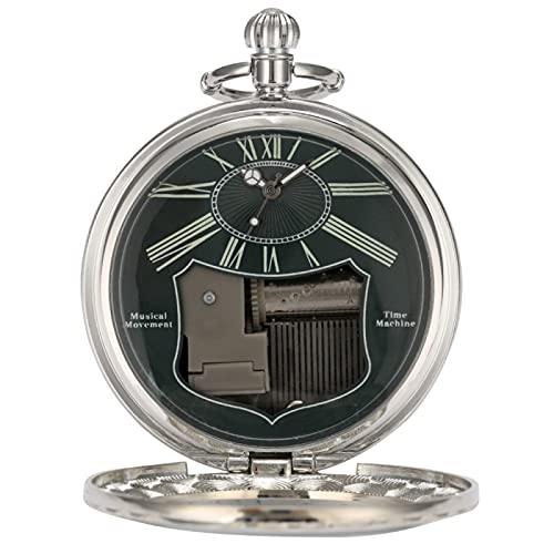 SENFEISM Cómodo Hombre Manivela Música Cuarzo Reloj de Bolsillo Caja Verde Números Romanos Dial Mujer Flip Reloj Música Melodiosa