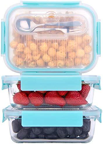 GENICOOK Frischhaltedosen aus Glas inkl. Mini Besteck, Meal prep Boxen Glas, Glasbeh?lter mit Deckel, Meal Prep Glassch¨¹ssel & Gefrierfach geeignet 1050ml *3£¨Neue£©¡