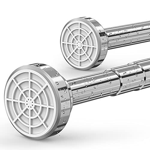 Premium Duschstange ohne Bohren verstellbar - 60cm - 100cm ausziehbar - Hochwertige Teleskopstange für Dusche und Badewanne - Duschvorhangstange in Edelstahl Optik - Vorhangstange – Klemmstange