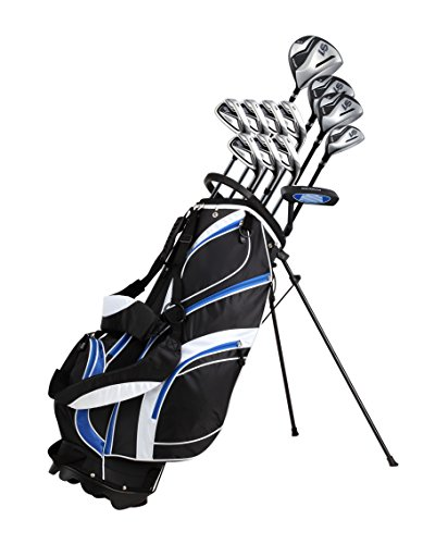 "18 Piece Men's Complete Golf Club Package Set With Titanium Driver, #3 & #5 Fairway Woods, #4 Hybrid, 5-SW Irons, Putter, Stand Bag, 4 H/C's (Blue, Tall Size +1"")"