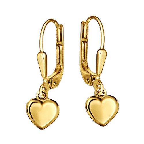 Clever Schmuck Goldene Kinder Ohrringe als Ohrhänger 19 mm mit Mini Herz 5 x 5 mm schlicht beidseitig gewölbt und glänzend 333 GOLD 8 KARAT