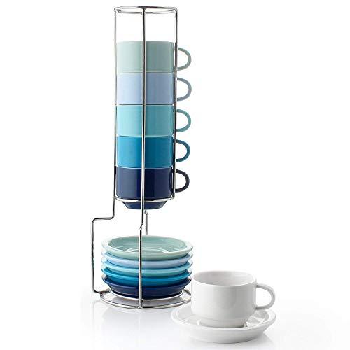Sweese 404.003 6-teilig Stapelbare Espressotassen Set aus Porzellan, Kaffeetassen mit Untertasse und Metall Ständer, Blaue Serie, 75 ml