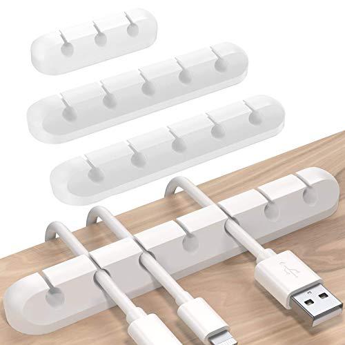 Kabelhalter Kabelclips Selbstklebend, Sinwind 4 Stück Kabelhalter Schreibtisch Kabel Organizer Set für Netzkabel, USB Cable Ladekabel, Audiokabel, Ladegeräte(Weiß)