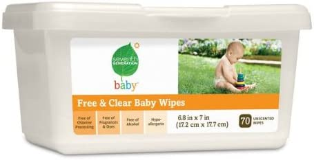 Seventh Generation Free & Clear Baby Wipes, 70 count Tubs (Pack of 12) (840 Wipes)