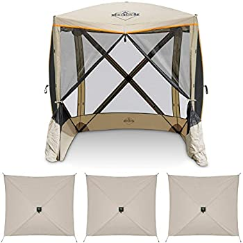 Hike Crew 4-Panel Pop-Up Screen House Gazebo 70x70 Inch – Instant Setup 4-Sided Hub Tent UV Resistant  SPF 50+  Fits 5 People Heavy Duty 210D Material – Includes Carry Bag & Ground Stakes