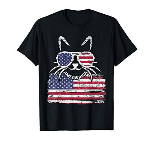 Bandera estadounidense apenada y gato Ameowrica Camiseta