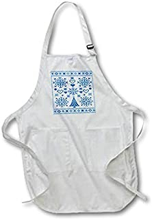 Professinal Chef Aprons for Women Cross Stitch Sampler Christmas Cross Stitch Embroidery Sampler Teal And Kitchen Apron with Pockets Restaurant Home Unisex Aprons