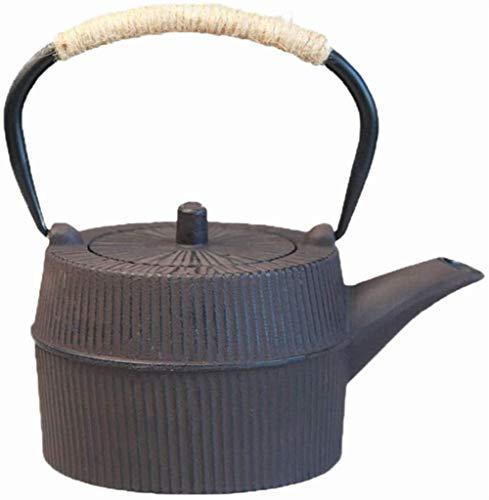 FJH Tetera de Hierro Fundido, Mano Hecho de Alta Capacidad Japonesa sin Recubrimiento Caldera de té colador Conjunto sin Recubrimiento del patrón 27 oz