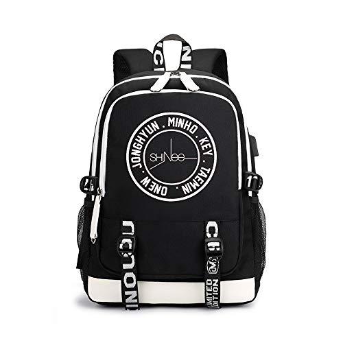 Shinee Rucksäcke Trendy Fashion Light Wandern Bag Lässige Sport Mode Rucksack Shinee Backpacks (Color : Black03, Size : 30 X 15 X 43cm)