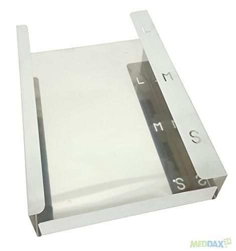 MEDDAX Trio Flat Edelstahl Handschuhhalter für 3 Boxen 238 x 392 x 93 mm