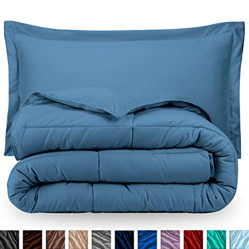 Bare Home Comforter Set - Queen Size - Goose Down Alternative - Ultra-Soft - Premium 1800 Series - Hypoallergenic - All Season Breathable Warmth (Queen, Coronet Blue)