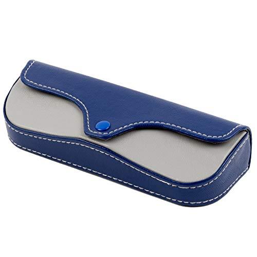 テーシーケース メガネケース 青 セミハード ボタン 合皮 YKP-4397-12