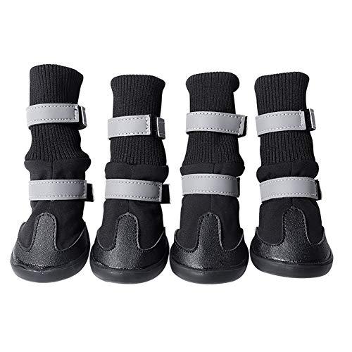 MoreChioce Chaussures Chien Impermeable,Hiver Bottes Chien Anti Slip Neige Bottes pour Animaux et Chiens,M,Noir