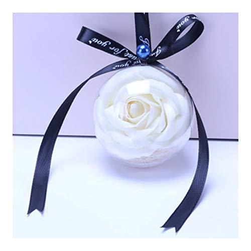 SHOP YJX 1 unids Coche Colgante Transparente Rosa Bola Bola Coche Retrovisor Decoraciones Color Creative Flower Ornament Accesorios de Encanto Recorte, 34x7cm (Color : White)