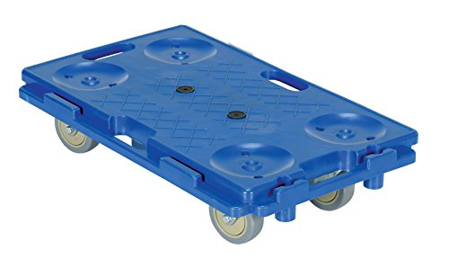 Vestil PCS-1626 - Caja de plástico con rueda de polipropileno, capacidad de 250 libras, 40,6 cm de ancho x 66 cm de largo x 15,2 cm de alto, altura de la cubierta