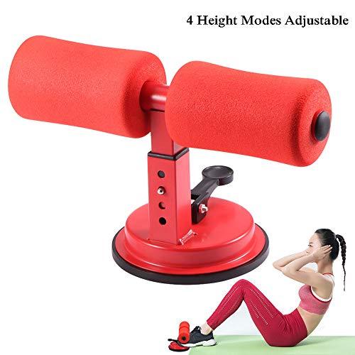 ALLOMN Setz Dich Auf Riegel, Selbstsaug Sitzassistent 4 Höhenmodi Verstellbarer Fitnessständer, Fitnessgeräte Krafttraining Fitness Helfen Werkzeug (Rot)