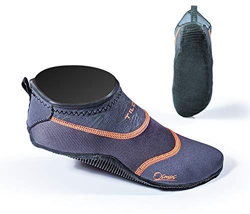 Tilos Osmos SUP Stand Up Paddle Grip Socks Draining Vented Neoprene Booties for SUP Beach Pool Sand Swim Surf Kiteboarding Windsurfing (Grey, S - Size 6-7)