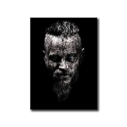 Leinwandbild, Vikinger-Poster, schwarz-weiß, Drucke, Ragnar Lothbrok, Portrait-Malerei, Wandbilder, Schlafzimmer, Heimdekoration (A,30,5 x 40,6 cm, ohne Rahmen)