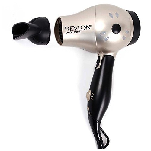 Revlon 1875 Watt Fast Dry Compact Hair Dryer with Ionic Select Technolgy, Folding Handle for Easy Convenience, Worldwide Dual Voltage, Bonus FREE Hair Pins Included