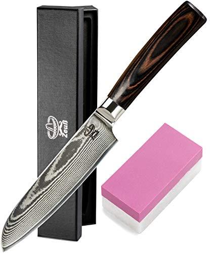 Zeuß L Küchenmesser Damastmesser (24 cm) - Profimesser - 67 Schichten Japanischem Damaststahl - Allzweckmesser - Santoku - Kochmesser - Chefmesser