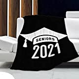 Angaja Class of 2021 Graduation Senior Blanket,Super Soft Air Conditioning Blanket for Couch Bed Sofa All Season Warm Microplush Lightweight 60x50in Throw for Teen