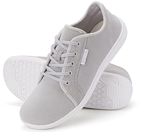 WHITIN Women's Minimalist Kint Barefoot Sneakers, Size 8 Low Zero Drop Sole Arch Support Wide Width Toe Box Tennis Flats Road Running Driving Training Walking Athletic Ladies Shoes Grey 38