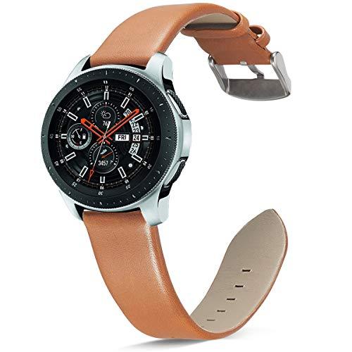 OTOPO Samsung Gear S3 Horlogeband met Quick Release Pins 22 mm Echt lederen vervangende riem met RVS gesp voor Samsung Gear S3 Classic/Frontier Smart Watch (zwart), Bruin3