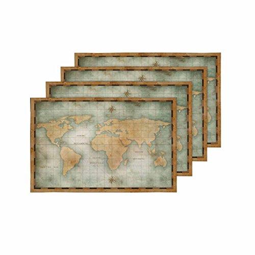 InterestPrint - Juego de 4 manteles individuales con diseño de mapa del mundo náutico antiguo, resistentes al calor, para comedor, cocina, mesa, restaurante, decoración del hogar, 30,5 x 45,7 cm
