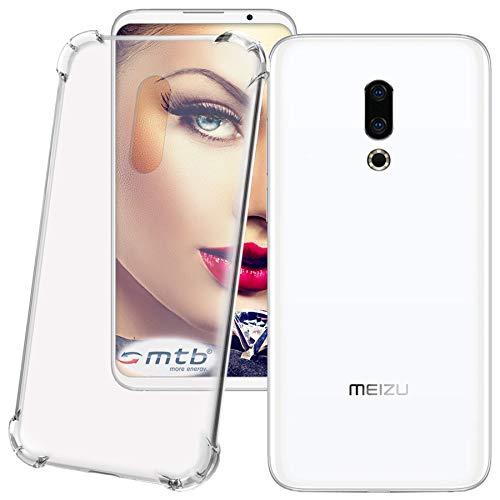 mtb more energy® Schutz-Hülle Anti Shock für Meizu 16th (6.0'') - verstärkte Ecken - transparent - TPU Silikon Case Cover Tasche