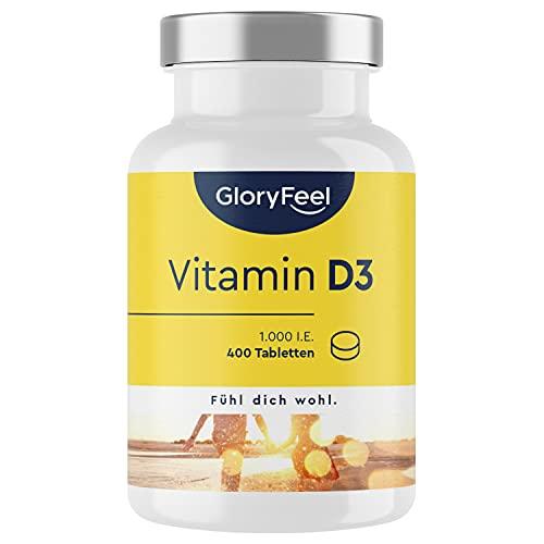 Vitamin D Sonnenvitamin - 400 Tabletten (13 Monate) - Laborgeprüfte 1000 IE Vitamin D3 pro Tablette - Unterstützt Knochen, Zähne, Muskeln und Immunsystem* - Ohne Zusätze in Deutschland hergestellt