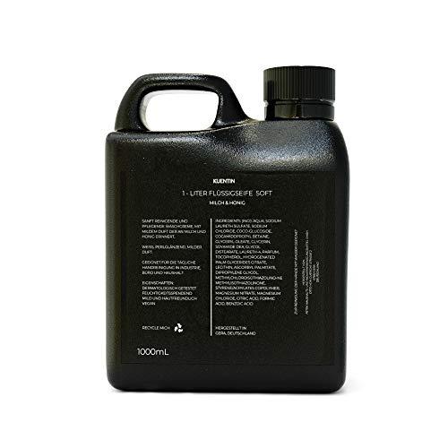 Kuentin 1L Flüssigseife Nachfüllpack (1x 1000ml) - Milch & Honig, Handseife Flüssig Nachfüllpack, Flüssigseife Nachfüllbeutel