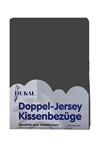 Dukal, Kissenbezug, 70 x 90 cm, aus hochwertigem DOPPEL-Jersey (100% Baumwolle), Farbe: anthrazit