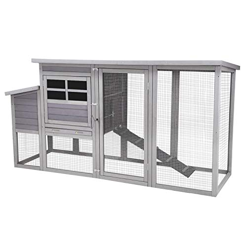 Chicken Houses and Coops Outdoor Coop, Large Coop Wooden Hen House Poultry Cage with Nest Box and Large Run -78in