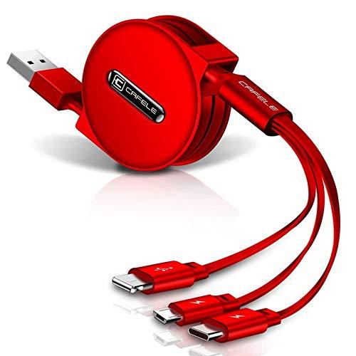 CAFELE ライドニングケーブル 巻き取り 充電ケーブル 3in1 3A急速充電 高速データ転送(iOSのみ) ライドニングusbケーブル/Micro/Type c 120cm 1年間品質保証 (レッド)