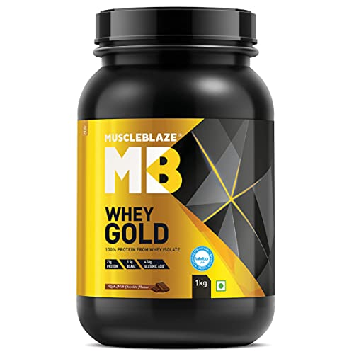 MuscleBlaze Whey Gold, 100% Whey Protein Isolate (Rich Milk Chocolate, 1 kg / 2.2 lb, 33 Servings)